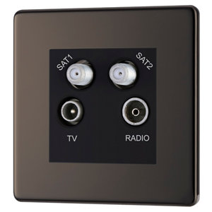 Image of Colours Black Nickel effect Coaxial & satellite socket