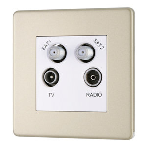 Image of Colours Nickel effect Coaxial & satellite socket