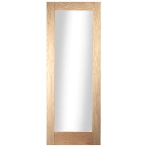 Image of 1 panel Glazed Shaker Oak veneer LH & RH Internal Door (H)1981mm (W)610mm