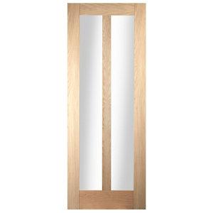 Image of Vertical 2 panel Glazed Oak veneer LH & RH Internal Door (H)1981mm (W)762mm