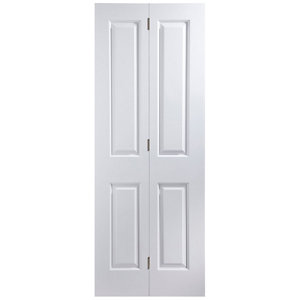 Image of 4 panel Primed White Internal Bi-fold Door set (H)1950mm (W)750mm