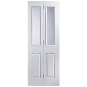 Image of 4 panel 2 Lite Glazed Primed White Internal Bi-fold Door set (H)1950mm (W)674mm