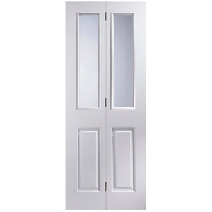 Image of 4 panel 2 Lite Glazed Primed White Woodgrain effect Internal Bi-fold Door set (H)1950mm (W)750mm