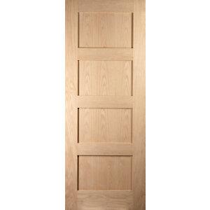 Image of 4 panel Shaker Oak veneer LH & RH Internal Door (H)1981mm (W)686mm