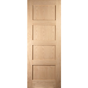 Image of 4 panel Shaker Oak veneer LH & RH Internal Door (H)1981mm (W)610mm