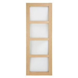 Image of 4 panel Glazed Shaker Oak veneer LH & RH Internal Door (H)1981mm (W)838mm