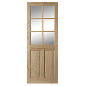 Image of 6 panel Glazed Clear pine LH & RH Internal Door (H)1981mm (W)762mm
