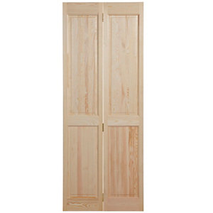 Image of 4 panel Clear pine Internal Bi-fold Door set (H)1945mm (W)675mm