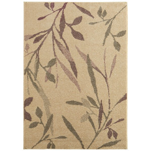 Image of Colours Aaliyah Trailing leaf Beige & purple Rug (L)1.7m (W)1.2m