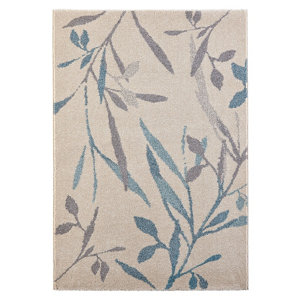 Image of Colours Aaliyah Trailing leaf Beige & blue Rug (L)1.7m (W)1.2m