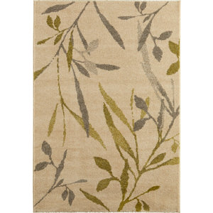 Image of Colours Aaliyah Trailing leaf Beige & green Rug (L)1.7m (W)1.2m