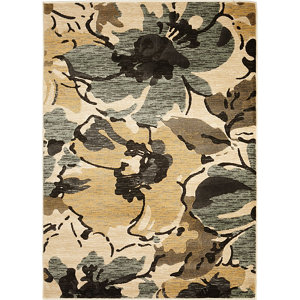 Image of Colours Antonia Floral Beige & brown Rug (L)1.7m (W)1.2m