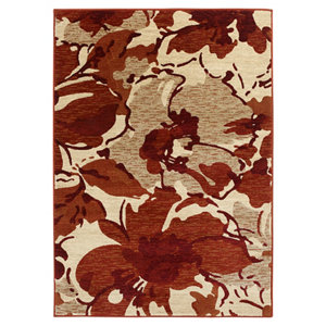 Image of Colours Antonia Floral Beige & red Rug (L)1.7m (W)1.2m