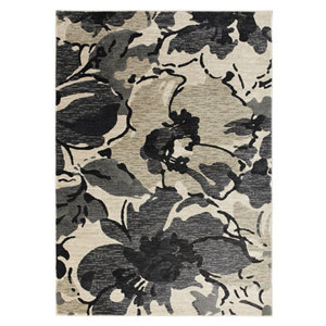 Image of Colours Antonia Floral Beige & black Rug (L)1.7m (W)1.2m