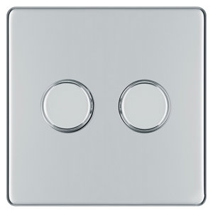 Image of Colours 2 way Double Chrome effect Dimmer switch