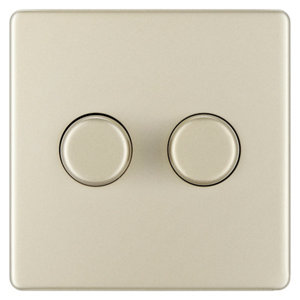 Image of Colours 2 way Double Nickel effect Dimmer switch