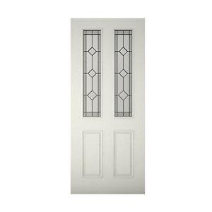 Image of 4 panel Diamond bevel Glazed Raised moulding Primed White LH & RH External Front Door (H)2032mm (W)813mm