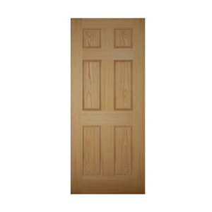 Image of 6 panel White oak veneer LH & RH External Front Door (H)1981mm (W)838mm