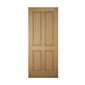 Image of 4 panel Raised moulding White oak veneer LH & RH External Front Door (H)2032mm (W)813mm