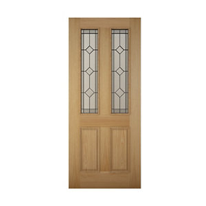 Image of 4 panel Diamond bevel Glazed Raised moulding White oak veneer LH & RH External Front Door (H)2032mm (W)813mm