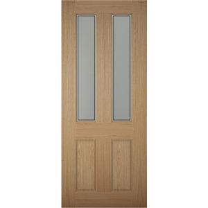 Image of 4 panel Frosted Glazed White oak veneer LH & RH External Front Door (H)1981mm (W)762mm