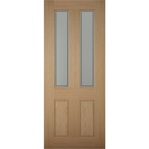 Image of 4 panel Frosted Glazed White oak veneer LH & RH External Front Door (H)1981mm (W)838mm