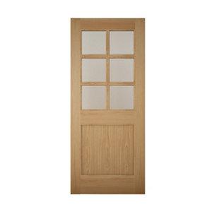 Image of Geom Clear Glazed White oak veneer LH & RH External Back Door (H)1981mm (W)838mm