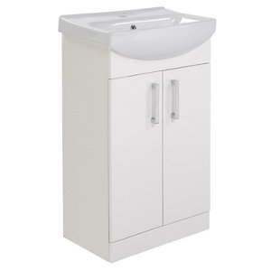 Image of Ardenno Gloss White Vanity unit & basin set (W)550mm