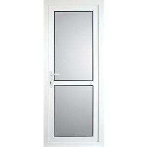 Image of Frosted Fully glazed Mid bar White uPVC RH External Back Door set (H)2055mm (W)920mm