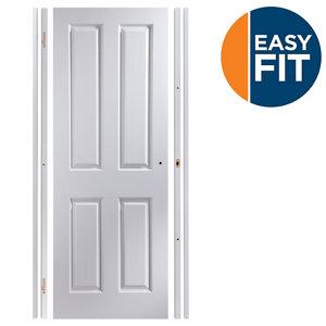 Image of Easy fit 4 panel Pre-painted White Adjustable Internal Door & frame set (H)1988mm-1996mm (W)759mm-771mm