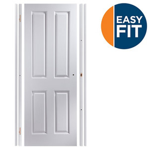 Image of Easy fit 4 panel Pre-painted White Adjustable Internal Door & frame set (H)1988mm-1996mm (W)683mm-695mm