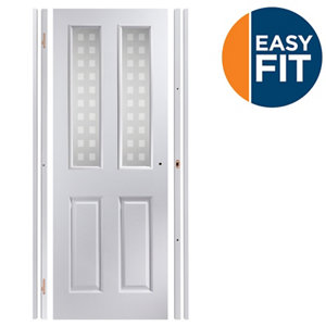 Image of Easy fit 4 panel Patterned Frosted Glazed Pre-painted White Adjustable Internal Door & frame set (H)1988mm-1996mm (W)75