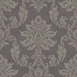 Image of Gold Etch Charcoal Damask Gold effect Embossed Wallpaper
