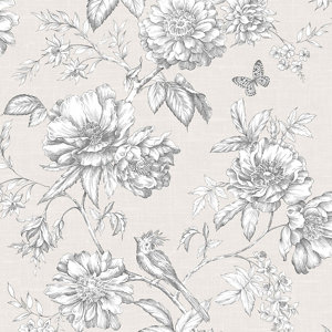 Image of Gold Menagerie Cream & white Floral Embossed Wallpaper