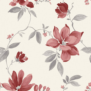 Image of Ideco Home Magnolia Cream & red Floral Smooth Wallpaper