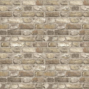 Image of Grandeco Neutral Faux wall Brick effect Embossed Wallpaper