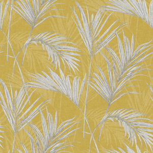 Image of Grandeco Palm springs Grey & yellow Leaf Woven effect Embossed Wallpaper