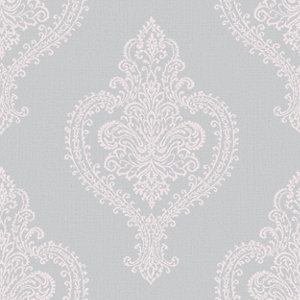 Image of Grandeco Adalyn Blush grey Damask Mica effect Embossed Wallpaper
