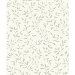 Image of Grandeco Nerine Sage green Leaf trail Woven effect Embossed Wallpaper