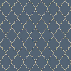 Image of Grandeco Deco trellis Navy Geometric Metallic effect Embossed Wallpaper
