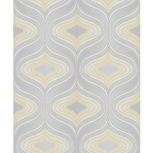 Image of Grandeco Nuevo Grey & yellow Geometric Glitter effect Textured Wallpaper