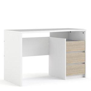 Image of Liten Matt white & oak effect Painted 3 Drawer Desk (H)764mm (W)1200mm (D)561mm