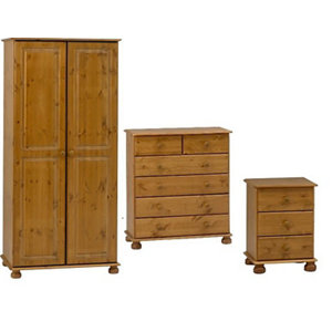 Image of Malmo Stained 3 piece Bedroom furniture set