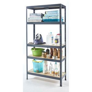 Image of 5 shelf Chipboard & steel Shelving unit (H)1800mm (W)900mm