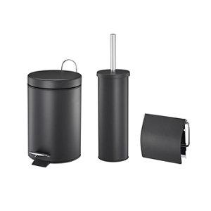 Image of Black Steel Set of toilet accessories Set