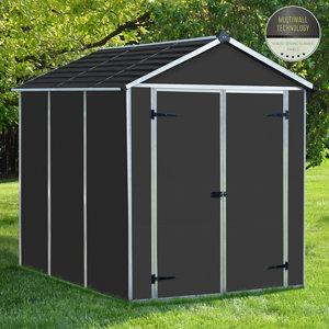 Palram Rubicon 6x8 Apex Dark grey Plastic Shed