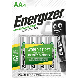 Image of Energizer Recharge Rechargeable AA Battery Pack of 4