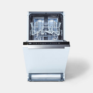 Beko DIS15Q10 Integrated Black & white Slimline Dishwasher