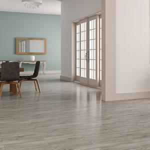 Image of Ashdown Grey Matt Wood effect Porcelain Wall & floor tile Pack of 8 (L)900mm (W)150mm