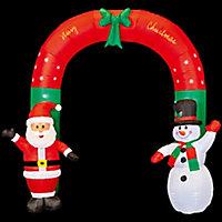(H)2.4m LED Santa & snowman arch Christmas inflatable